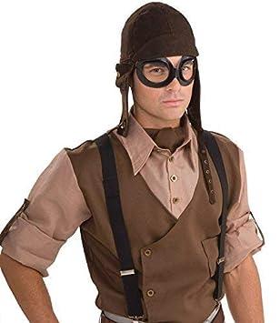 Fancy Me Adultes Steampunk Guerre Pilote Aviateur Lunettes Casque Costume  Déguisement Kit Accessoire 41f38b14d3b