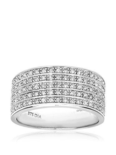 Revoni - Bague Éternité en or blanc 9 carats et diamants total 0,5 carat