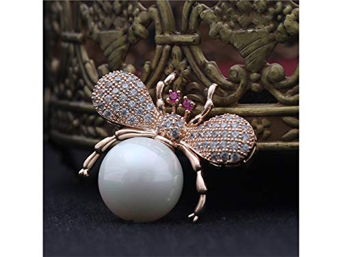 Yunqir Fashion Bee Brooch Wedding Banquet Bridal Clothing Decorative Corsage for Women's Gift (Gold+White) (Color : Golden+White, Size : 3x2.7cm)