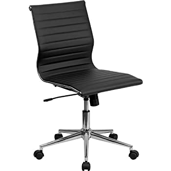 Flash Furniture Mid-Back Armless Black Ribbed Leather Swivel Conference Chair