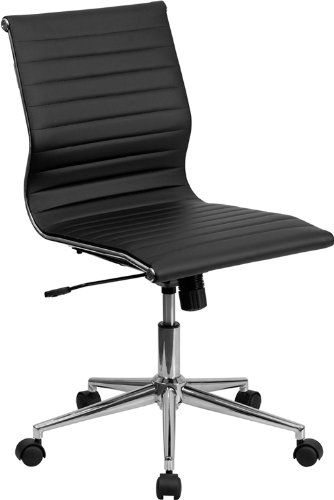 Flash Furniture Mid-Back Armless Black Ribbed Leather Swivel Conference Chair - Leather Polished Frame