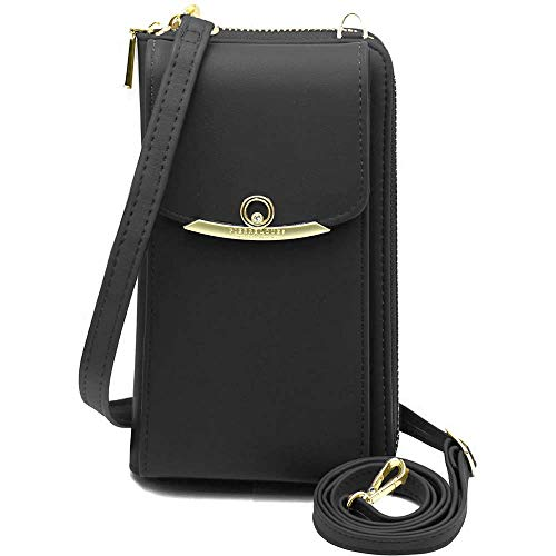 Cyber Deals Monday Sales Womens Purse Leather Cellphone Holster Wallet Case Small Crossbody Shoulder Phone Bag Pouch Handbag Clutch for iPhone 11 Pro 8 7/6 Plus Xs Max X Xr Samsung S10+ (Z-Black)