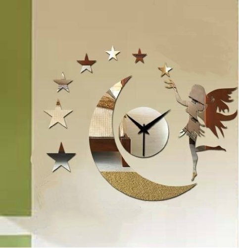 Alrens_DIY(TM)Silver Moon Girl Stars Angel Art Mordern Luxury Design DIY Removable Acrylic Non-ticking Silent Quartz Wall Clock 3D Crystal Mirror Wall Clock Wall Sticker Home Decor Art Living Room Bedroom Office Decoration