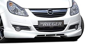 Rieger Frontal Alerón Labio Negro Mate para Opel Corsa D: 07.06 – 12.10 (hasta