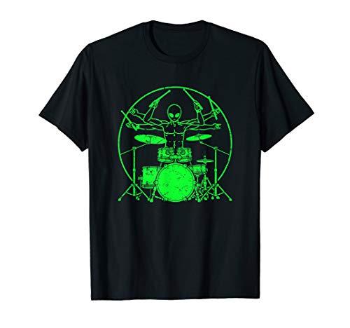 Green UFO Alien Drummer T-Shirt