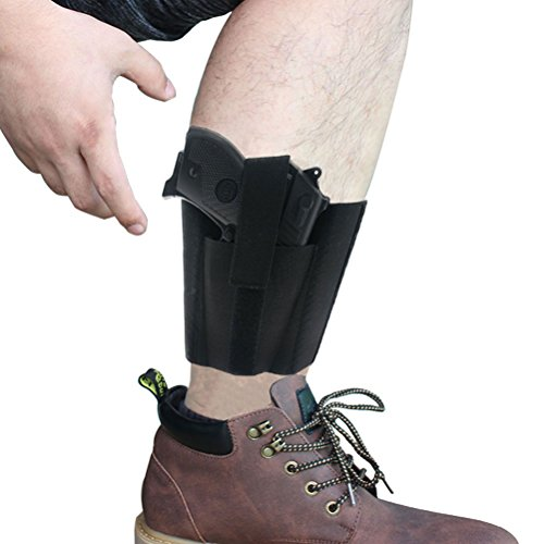 CREATRILL Ankle Holster with Padding for Concealed Carry with Elastic Secure Strap Pistol Concealment for Women Men Fits for Small to Medium Frame Pistols and Revolvor, Black (Best Pistol For A Woman To Carry Concealed)