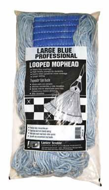 Lanier Looped Mop Head Cotton Cotton / Synthetic Blend Yarn Large Blue Bagged by Elite Mops & Brooms Inc (Image #1)
