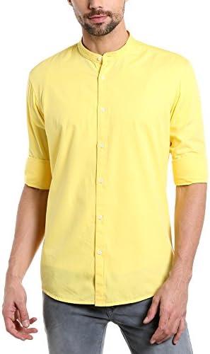 52670a1b2 Dennis Lingo Men's Solid Slim Fit Casual Shirt (CC201_Yellow_M_Yellow_M)