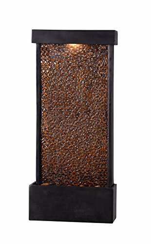 Kenroy Home 51051ORB Forged Water Indoor/Outdoor Wall/Table Fountain with Light, 26 Inch Height, Hammered Copper