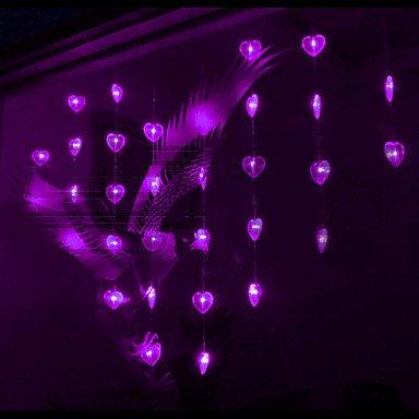 Zjj  1.2Mx0.95m amore viola stringa LED si illumina con 32 LED , 110-120v