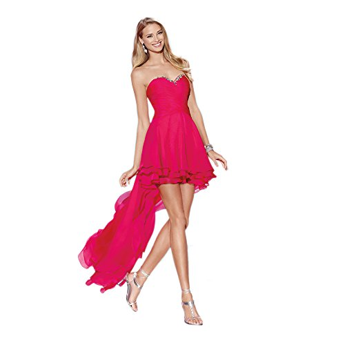 Alyce Paris Strapless Chiffon High-Low Gown Cerise – 4