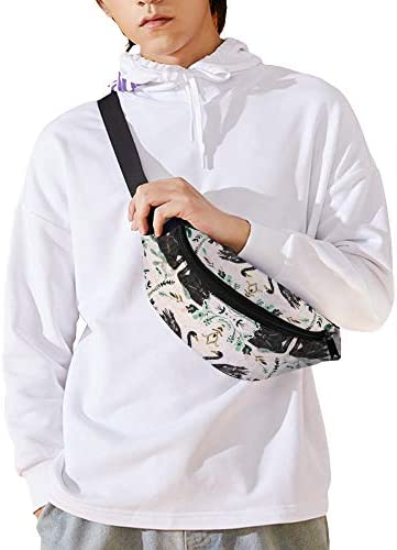 F話白鳥ダマスク ウエストバッグ ショルダーバッグチェストバッグ ヒップバッグ 多機能 防水 軽量 スポーツアウトドアクロスボディバッグユニセックスピクニック小旅行