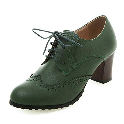 100FIXEO Women Block Heel Wingtip Oxford Shoes (5.5