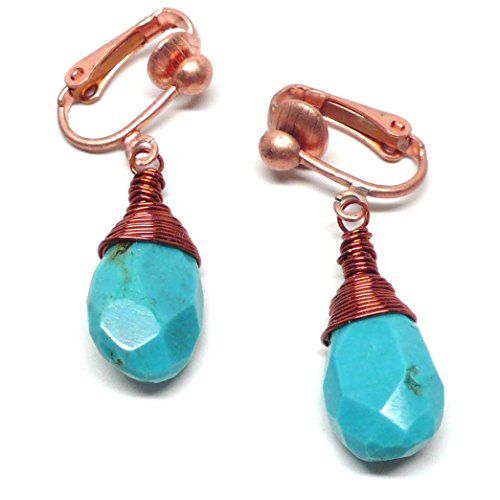 (Turquoise Beveled Flat Teardrop Non-Pierced Earrings Wire-Wrapped Copper Clip-On)