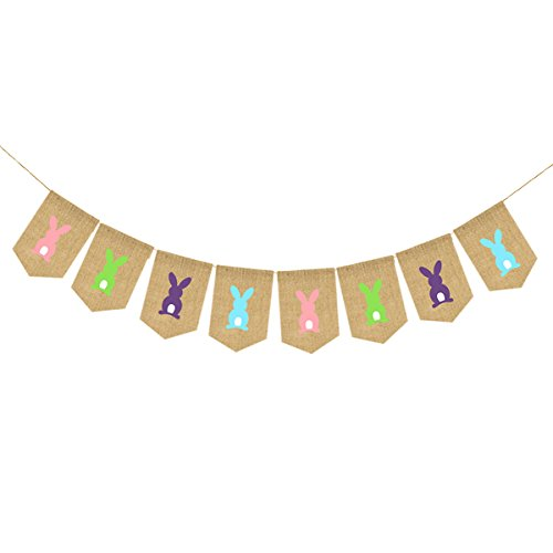 LUOEM Easter Bunting Banners Easter Bunny Banner Spring Festival Party Decorations Easter Garden Garland]()