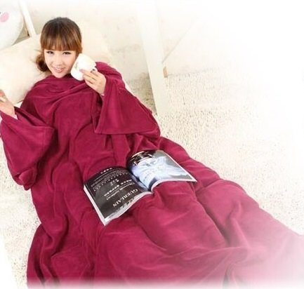 Supper Home Winter Warm Fleece Snuggie Blanket Robe Cloak with Sleeves (Wine Red)