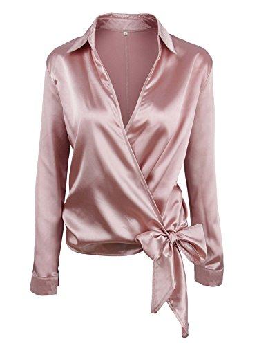 Blouse Wrap Satin - SheIn Women's V Neck Long Sleeve Satin Knotted Hem Wrap Blouse Pink Small
