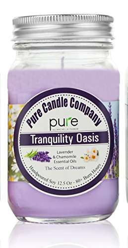 PURE Naturally Scented Aromatherapy Candles Gift Set, 2-Pack Lavender Chamomile Essential Oil Soy Candles Large Mason Jar, 12.5 oz. Natural Home Fragrance Candle, Best Gift for Women!