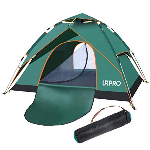 URPRO Family Tent, 3-4 Person Automatic pop up Tent has Two Using Ways, Double Layers Waterproof, Windproof, with Carry Bag,Perfect for Beach, Outdoor, Traveling,Hiking,Camping, Hunting, Fishing
