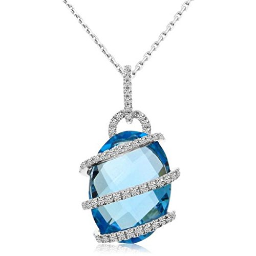 (Incredible Women's Diamond and Blue Topaz Swirl Pendant Necklace 14k White Gold (9.08ct))