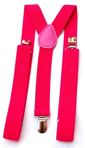 Mens / Womens One Size Suspenders Adjustable- Neon Pink