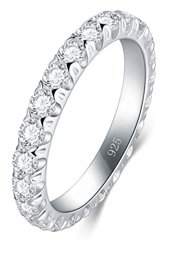 BORUO 925 Sterling Silver Ring, Cubic Zirconia CZ Wedding Band Stackable Ring 3mm Size 7 (Eternity Band Sterling Silver)