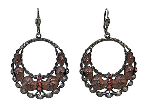 Anne Koplik Antiqued Silver Silver Ornate Rose Peach Hoop Earrings ()