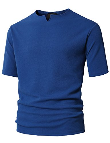 H2H Mens Casual Hipster Hip Hop Lace up Cotton T-Shirts Blue US M/Asia L (KMTTS0566) by H2H