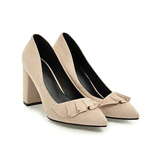 Femmes Printemps Grande LIANGHUA 5 Femme De Talons Chaussures Femme Taille Chaussures Hauts Doux Marque Chaussures Sexy De Été Dame Cm Fête Mariage 8 Volants De en Pompes Daim qFABzqwrx
