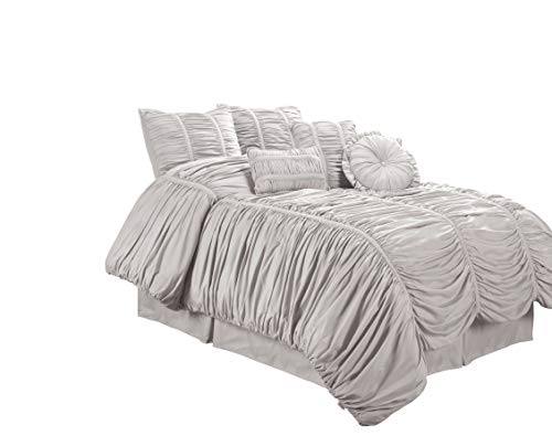 (Chezmoi Collection 7-Piece Chic Ruched Duvet Cover Set, Silver Gray, King Size (with Throw Pillows))