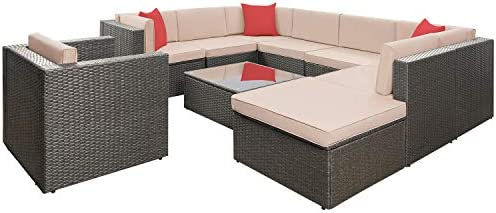 Flamaker 10 Pieces Wicker Sectional Furniture Set Patio Furniture Set Cushioned Sectional Sofa Outdoor Rattan Sofa Set with Cushions and Coffee Table 10 Pieces