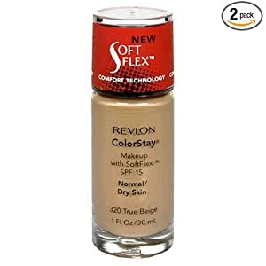 Revlon ColorStay Makeup, with SoftFlex, SPF 15, Normal/Dry Skin, 1 fl oz (30 ml) (Pack of 2)-variation, 320 True Beige: $17.99