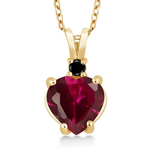 2.25 Ct Heart Shape Red Created Ruby Black Diamond 14K Yellow Gold - Aaa Ruby Pendant Diamond 14k