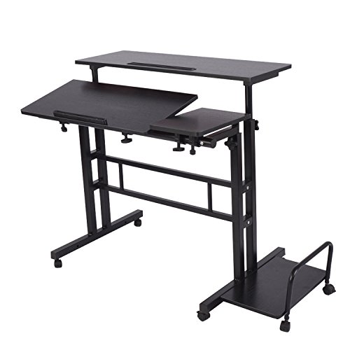 Adjustable Sit to Stand up Desk Standing Desk Laptop Desk Table Stand Computer Workstation with Keyboard Computer Case Wheels Mobile Height 26.4 to 45.3 2-Tier Portable Desk Home Office Heavy Duty