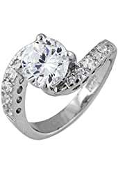 Sterling Silver Round Cubic Zirconia Twisted Pave Engagement Ring