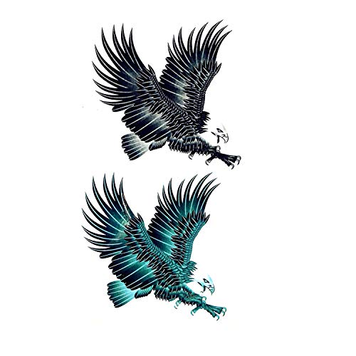 (Cool Beast Tiger Waterproof Temporary Tattoo Stickers Men Indian Totem Fake Tattoos Wings Eagle Tattoo Sticker,P8)