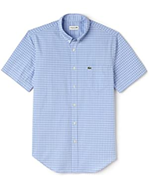 Lacoste Men's Men's Blue Checked Short Sleeve Shirt in Size 42-L Blue