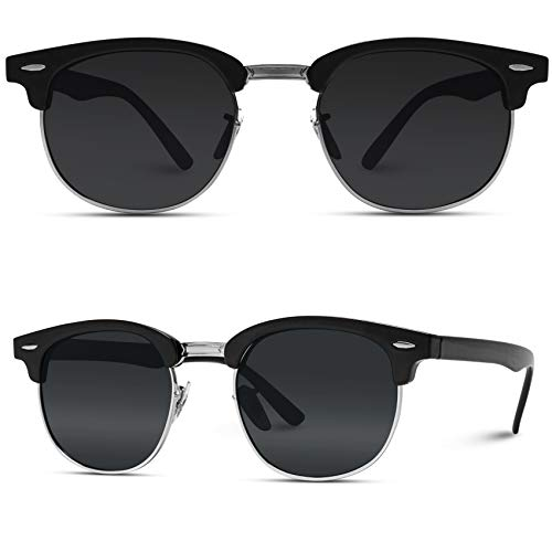 WearMe Pro - Polarized Classic Half Frame Semi Rimless Retro Sunglasses Women Men ()