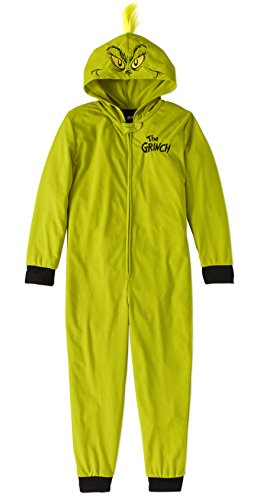 Child Girls Boys Dr. Seuss The Grinch Stole Christmas One Piece Hooded Pajamas (The Grinch -Green, Large 10/12)