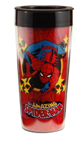 The Amazing Spider-Man Comic Art 16 ounce Metal Full Color Travel Mug NEW BOXED