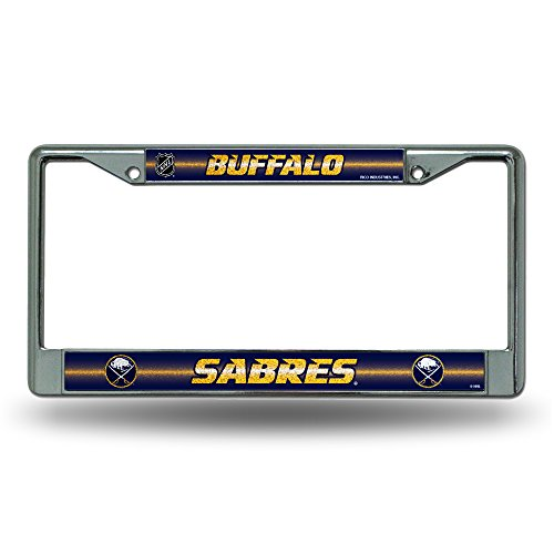 Rico NHL Buffalo Sabres Bling Chrome License Plate Frame with Glitter (Buffalo Sabres Metal)