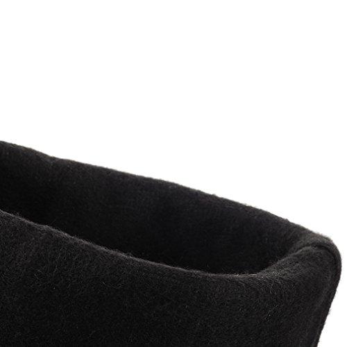 ENMAYER Frauen PU-Material Knie-hohe Wölbungs-niedrige Fersen-Plattform-feste Winter-beiläufige Aufladungen Braun