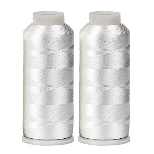 - HUGE 5500yards Cone Spool Bobbin Thread White Machine Embroidery - ThreadNanny Brand (Two pack, White)