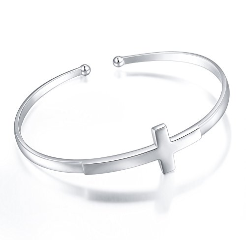 S925 Sterling Silver Engraved Faith Hope Love Inspirational Cuff Cross Bangle for Women Sister Girl (Style 1 White Gold Plated)