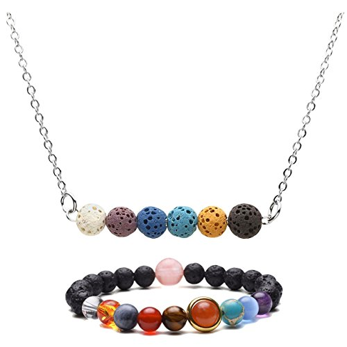 Top Plaza Chakra Healing Lava Rock Stones Aromatherapy Essential Oil Diffuser Necklace Bracelet Jewelry Set #2 (Jewelry Solar Beads)