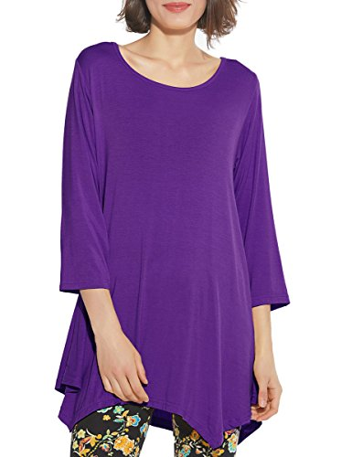 BELAROI Women 3/4 Sleeve Swing Tunic Tops Plus Size T Shirt (L, Deep Purple)
