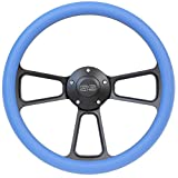 5-bolt Black Steering Wheel 14 Inch Aluminum with Sky Blue Vinyl Wrap and SS Horn Button
