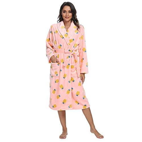 U2SKIIN Plush Robes for Women, Printed Fleece Womens Robs Long Soft with Pockets Warm Fuzzy Cozy Shawl Collar