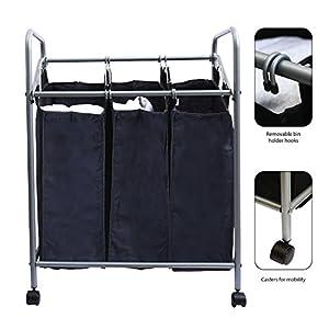 Ybm Home Chrome/black Triple Laundry Sorter Hamper 1620-11 (1)