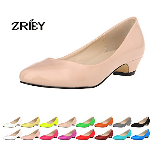 ZriEy Women's Closed Round Toe Pumps Low Mid Kitten Heels for Business Work Office Shoes
